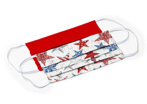 USA Red Stars Patriotic Handmade Cloth Face Masks by Joyful Gnomes
