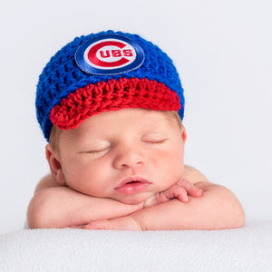 Chicago Cubs Inspired Hand-knitted Baby Hat