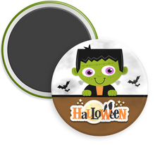 Load image into Gallery viewer, Frankenstein Halloween Button Magnet