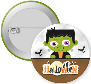 Frankenstein Halloween Button Pin