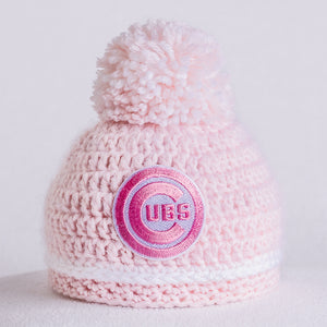 Chicago Cubs Newborn Baby's Hat for Girl in Pink and White