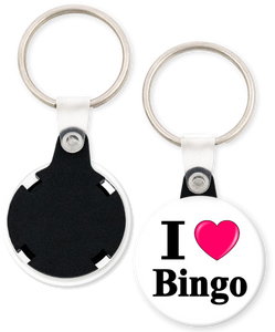 I Love Bingo Button Keyring Keychain