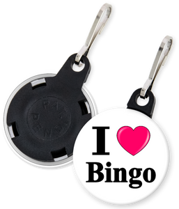 I Love Bingo Button Zipper Pull
