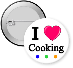 I Love Cooking Button Pin