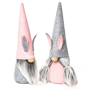 Pink and Gray Easter Bunny Fabric Gnomes