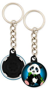 Panda Bear Button Keyring Keychain