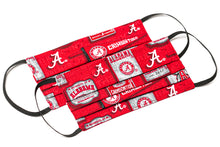 Load image into Gallery viewer, Alabama Crimson Tide red and white pleated cloth face masks