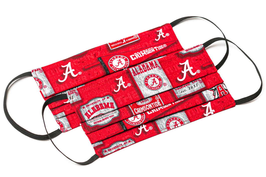 Alabama Crimson Tide red and white pleated cloth face masks