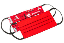 Load image into Gallery viewer, Alabama Crimson Tide red and white pleated cotton face masks