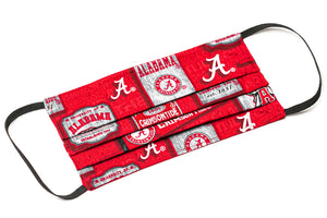 Alabama Crimson Tide red and white pleated cloth face covering