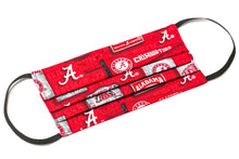 Load image into Gallery viewer, Alabama Crimson Tide red and white pleated cotton face covering