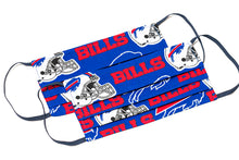 Load image into Gallery viewer, Buffalo Bills red and blue NFL pleated cloth face masks