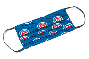 Chicago Cubs blue MLB baseball handmade pleated cotton face mask