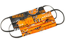 Load image into Gallery viewer, Cincinnati Bengals orange and black NFL pleated cotton face mask