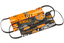Load image into Gallery viewer, Cincinnati Bengals orange and black NFL pleated cloth face mask