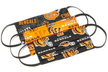 Load image into Gallery viewer, Cincinnati Bengals orange and black NFL pleated cloth face masks