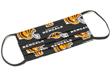 Load image into Gallery viewer, Cincinnati Bengals black NFL pleated cloth face mask