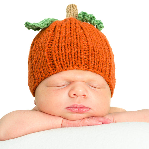Fall orange hand-knitted newborn baby pumpkin hat