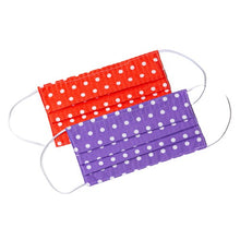 Load image into Gallery viewer, Purple orange white polka-dot handmade cloth face masks