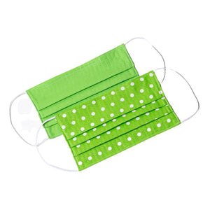 Green White polka-dot handmade cloth face masks
