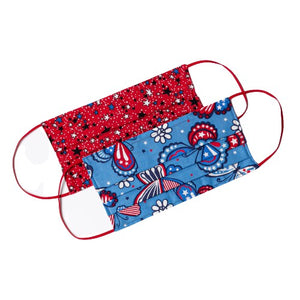 American Red White and Blue Patriotic Handmade Cloth Face Mask by Joyful Gnomes