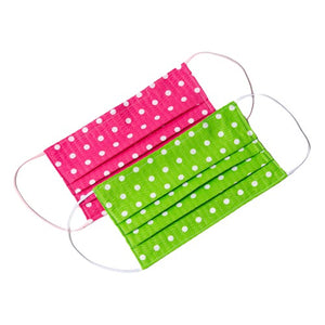 Pink green white polka-dot handmade cloth face masks