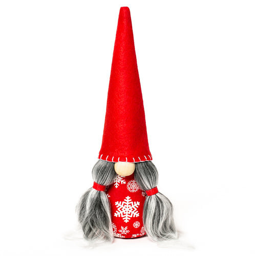 Winter holiday snowflake Christmas fabric gnome with red hat