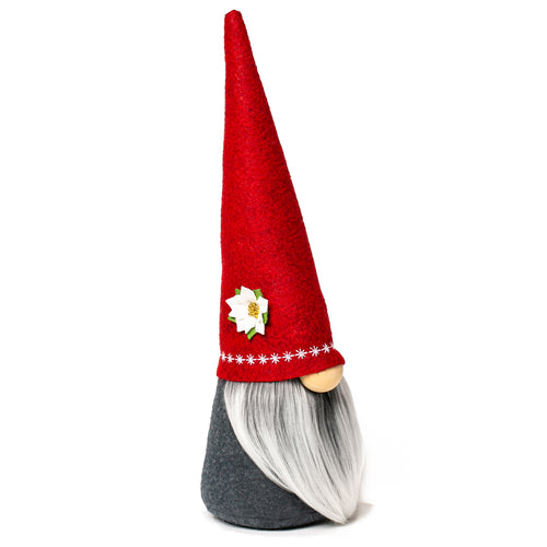 Christmas Holiday fabric gnome red hat with flower and white beard