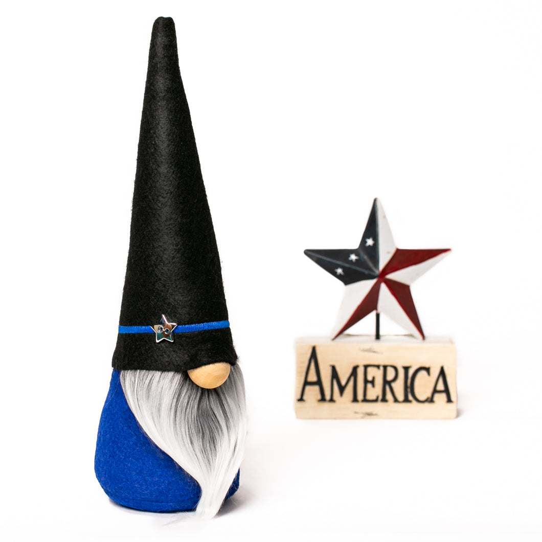 Thin blue line police lives matter fabric gnome