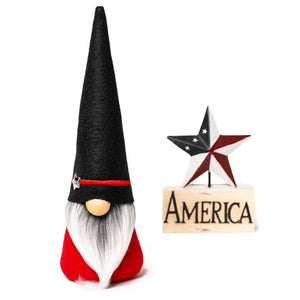 Thin red line firefighter lives matter fabric gnome