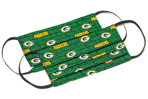 Green Bay Packers handmade pleated cloth face masks