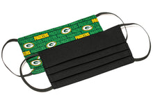 Load image into Gallery viewer, Green Bay Packers black handmade pleated cotton face masks