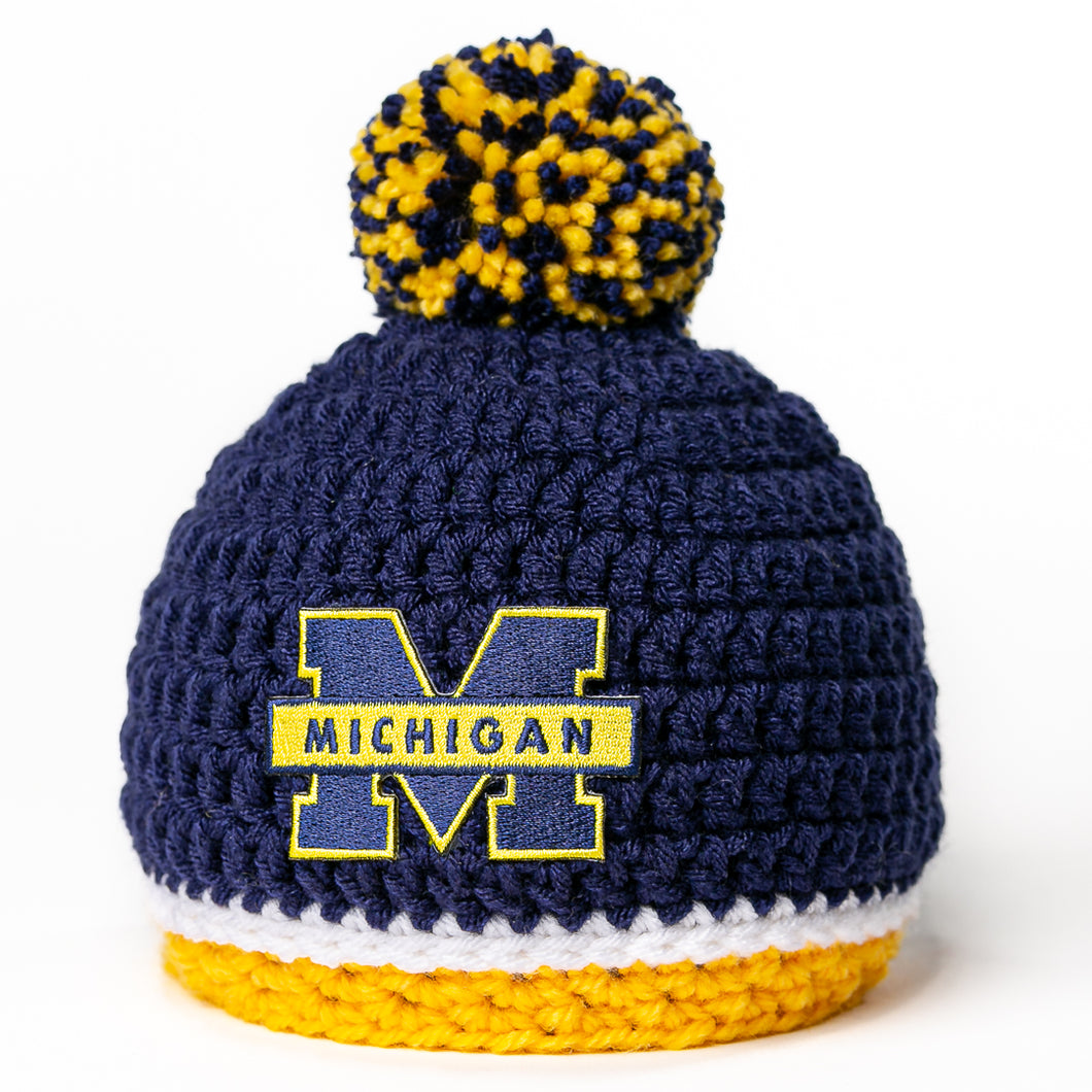 Michigan Wolverines newborn baby hat