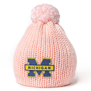 Michigan Wolverines newborn baby hat for girl