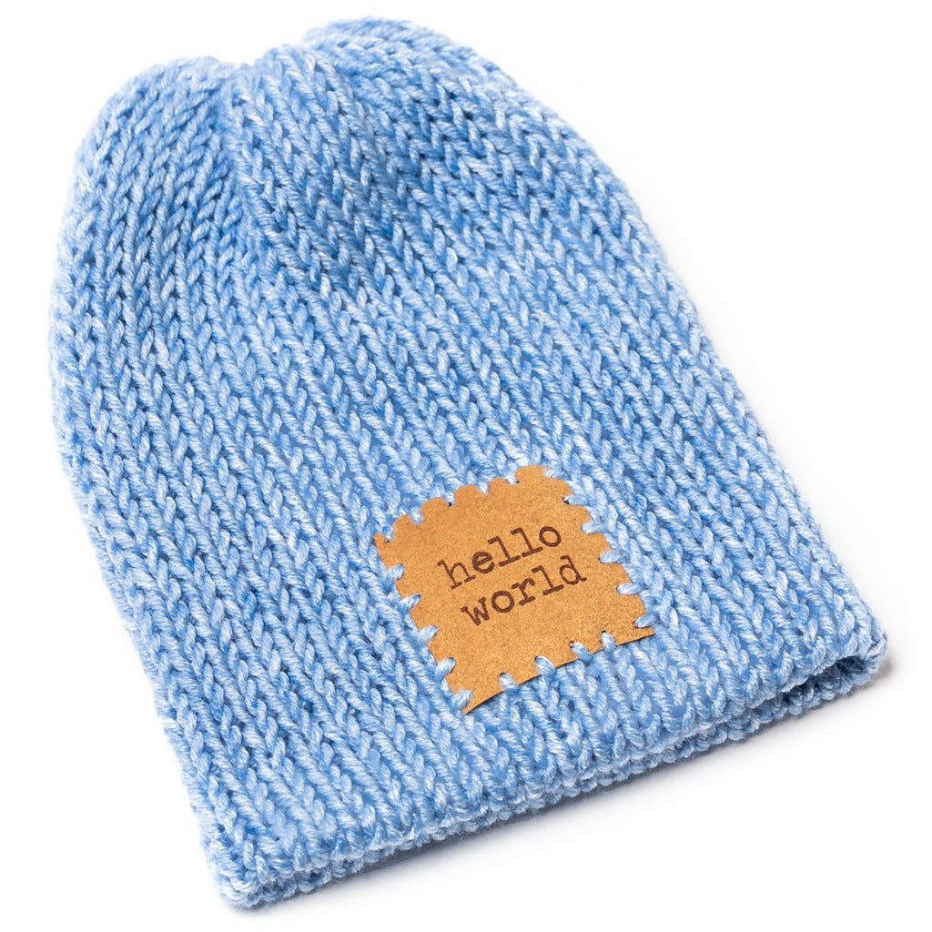 handmade kitted newborn baby hat light blue heather with patch