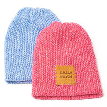 Load image into Gallery viewer, Hand-knitted Pink & Blue Heather Baby Hats