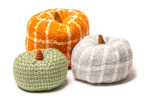 hand knitted fabric fall pumpkins