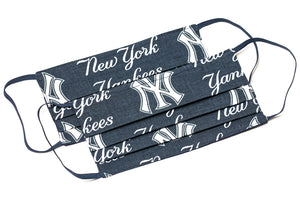 New York Yankees white and blue MLB pleated cloth face masks
