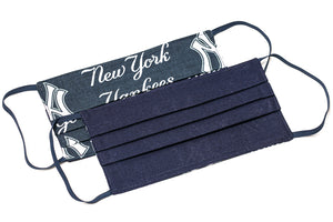 New York Yankees white and blue MLB pleated cotton face masks