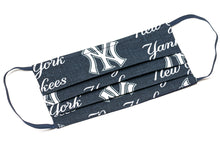 Load image into Gallery viewer, New York Yankees white and blue MLB pleated cotton face mask