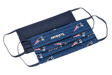 Load image into Gallery viewer, New England Patriots blue NFL football handmade pleated cloth face masks