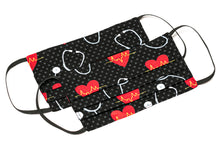 Load image into Gallery viewer, Nurse heart scope polka-dots handmade cloth face masks