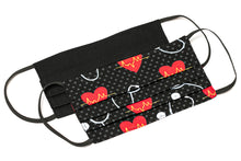 Load image into Gallery viewer, Nurse heart scope polka-dots black handmade cloth face masks