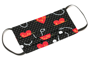Nurse heart scope polka-dots handmade cotton face masks