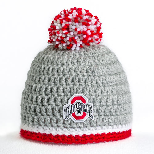 Ohio State Buckeyes scarlet and gray hand-knitted baby hand