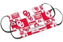 Load image into Gallery viewer, Oklahoma Sooners red and white pleated cloth face masks