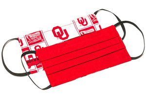 Oklahoma Sooners red and white pleated cotton face masks
