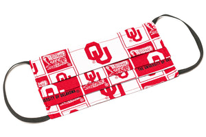 Oklahoma Sooners red and white handmade cloth face mask