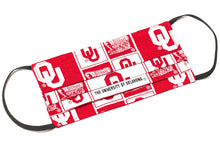 Load image into Gallery viewer, Oklahoma Sooners red and white handmade cotton face mask