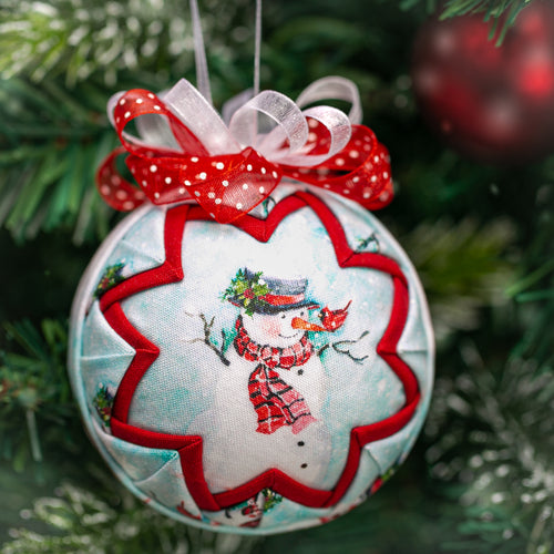 Handmade quilted fabric Christmas Holiday Snowman Ornament